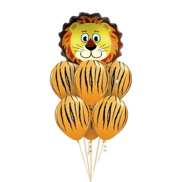 Safari Turuncu Zebralı Aslan Balon Seti