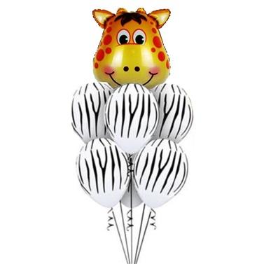 Safari Beyaz Zebralı Zürefa Balon Seti