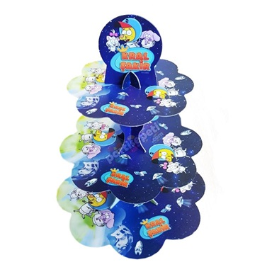 Kral Şakir Uzay Temalı Cupcake Kek Standı