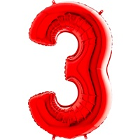 3 Rakam Folyo Balon Kırmızı