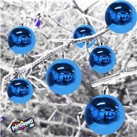 Yılbaşı Ağacı Parlak Mavi Top Süs