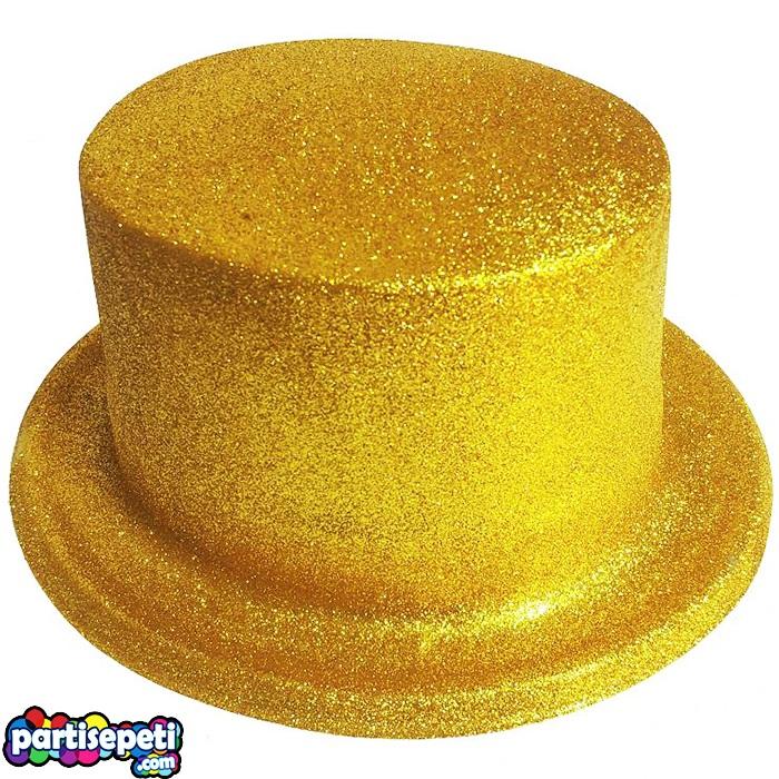 Simli Parti Şapkası Altın