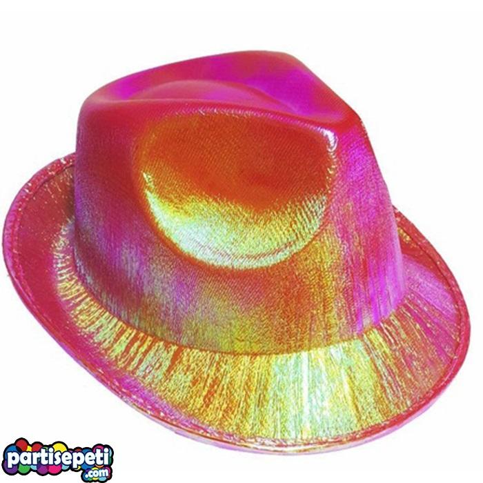 Helogramlı Fuşya Parti Şapka