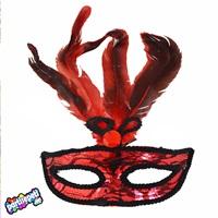 Kırmızı Tüylü Yüz Maske