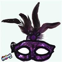 Mor Tüylü Yüz Maske