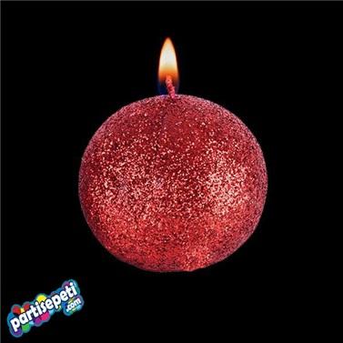 Kırmızı Simli Top Mum