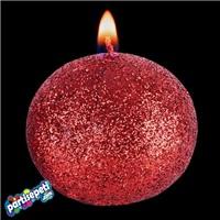 Kırmızı Simli Top Mum Büyük