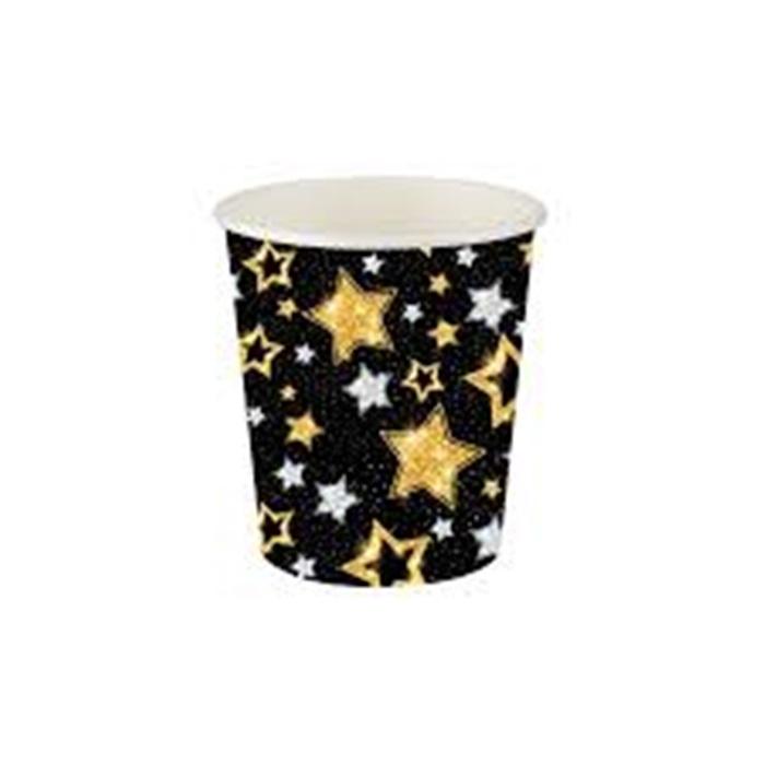 Yıldızlı Siyah Karton Bardak