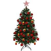 Çam Ağacı Hazır Kırmızı Top Süslü Set