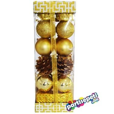 Çam Ağacı Hazır Gold Top Süslü Set