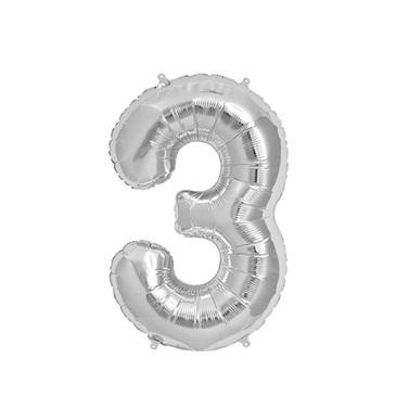 Gümüş 3 Rakam Folyo Balon