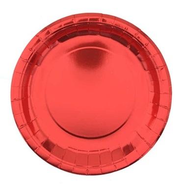 Metalik Kırmızı Karton Tabak