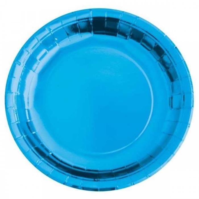 Metalik Mavi Karton Tabak