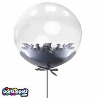 Siyah Tüylü Şeffaf Balon 60 Cm