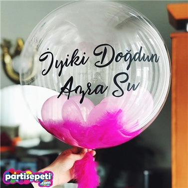 Özel İsimli Şeffaf Tüylü Balon 60 Cm