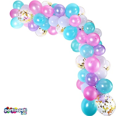 Zincir Balon Seti Pembe - Mavi - Mor / Konfetili