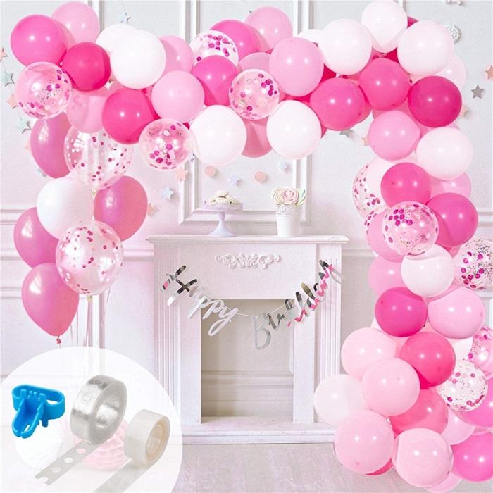 Zincir Balon Seti Pembe - Beyaz / Konfetili
