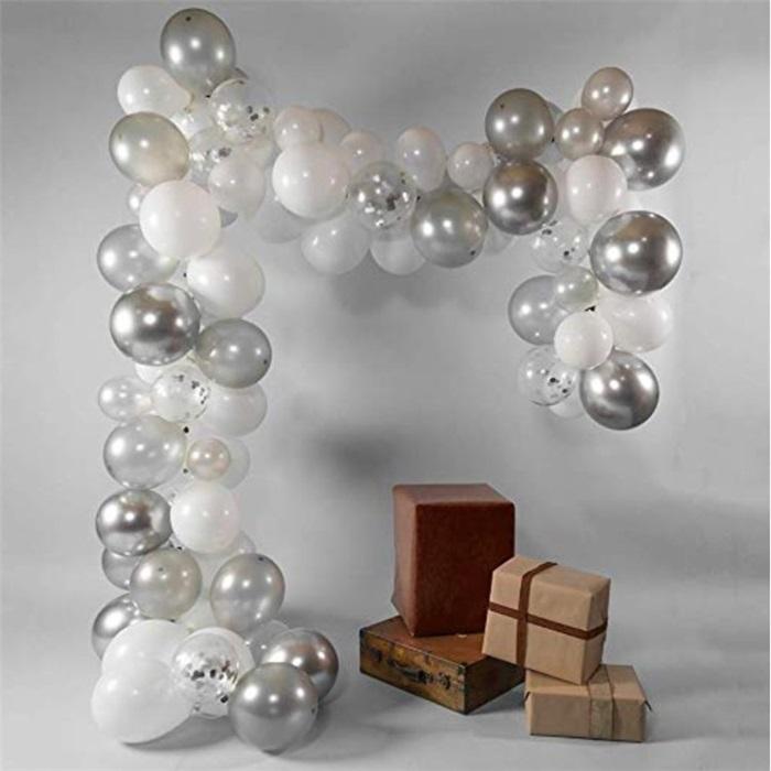 Zincir Balon Seti Gümüş - Beyaz / Konfetili