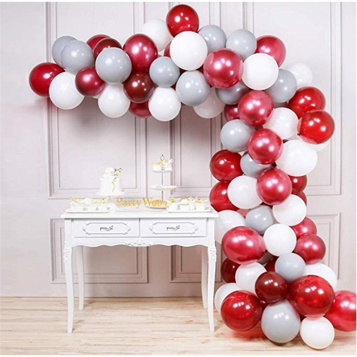 Zincir Balon Seti Kırmızı - Beyaz - Gümüş