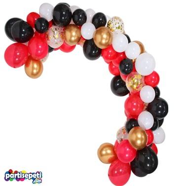 Zincir Balon Seti Kırmızı - Gold - Siyah - Beyaz / Konfetili