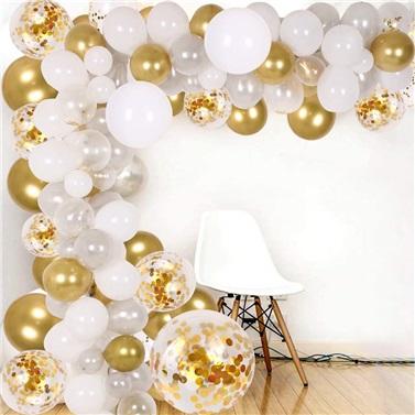 Zincir Balon Seti  Beyaz - Gold / Konfetili