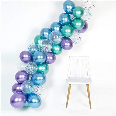 Zincir Balon Seti Krom Mavi - Yeşil - Mor / Konfetili