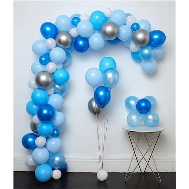 Zincir Balon Seti Mavi - Beyaz - Gümüş