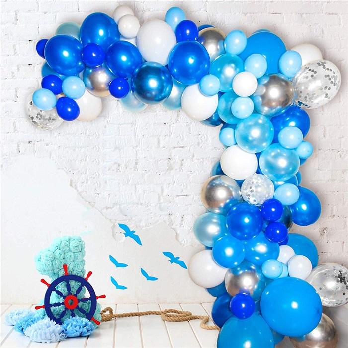Zincir Balon Seti Mavi - Beyaz / Konfetili