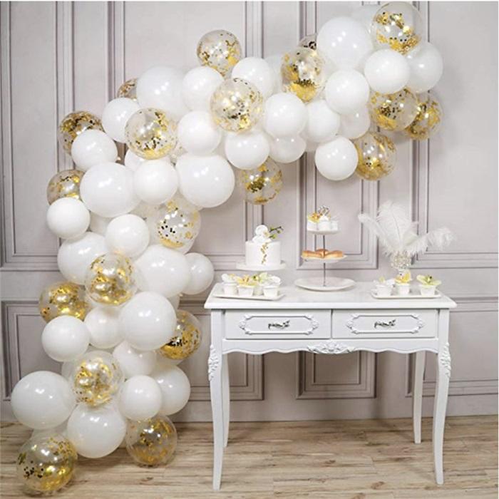 Zincir Balon Seti Beyaz / Gold Konfetili