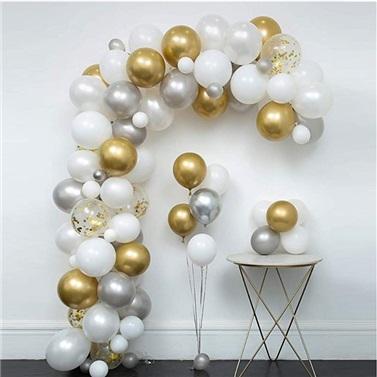 Zincir Balon Seti Gold - Gümüş - Beyaz