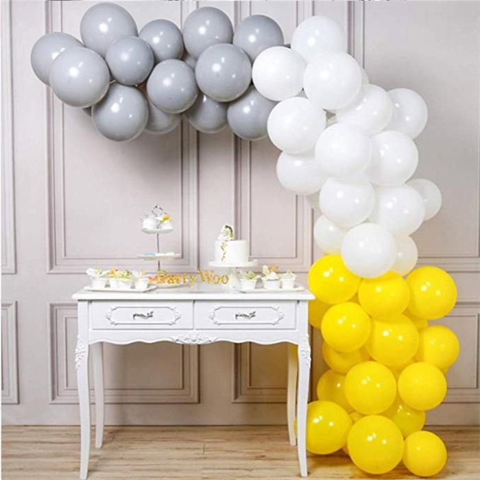 Zincir Balon Seti Sarı - Beyaz - Gümüş