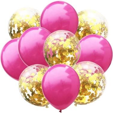 Fuşya Gold Konfetili Balon