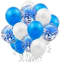 Mavi Beyaz Konfetili Balon