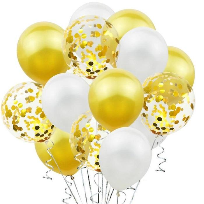 Sarı Beyaz Konfetili Balon