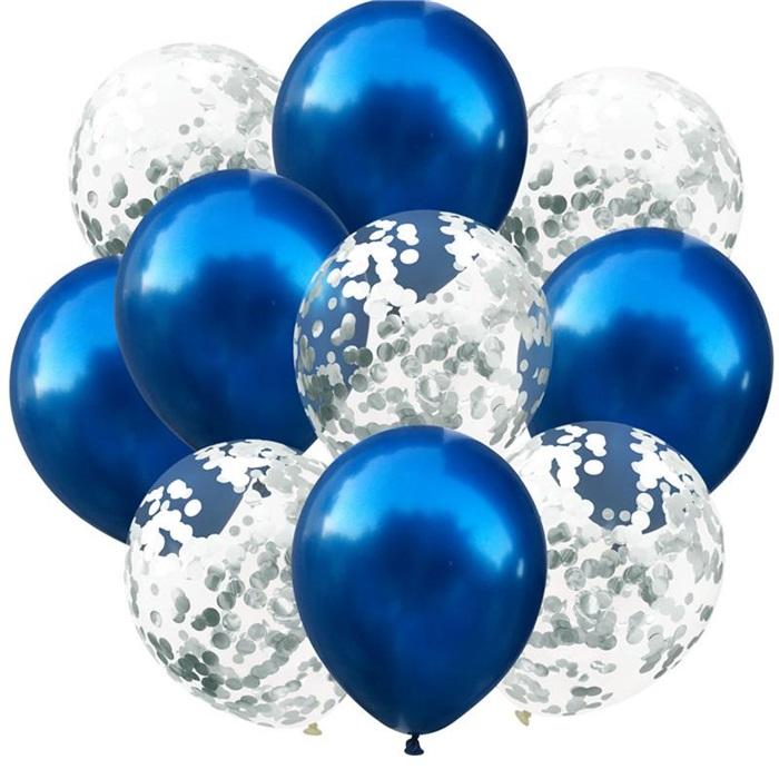 Lacivert Gümüş Konfetili Balon
