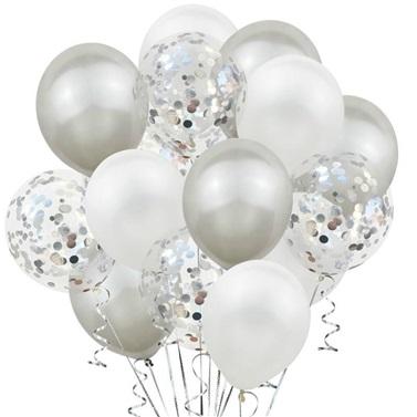 Beyaz Gümüş Konfetili Balon