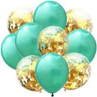 Yeşil Gold Konfetili Balon
