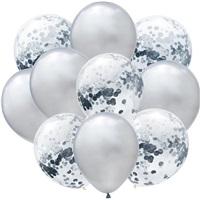 Gümüş Konfetili Balon