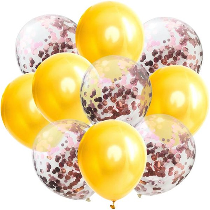 Sarı Rose Konfetili Balon