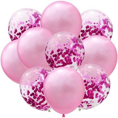 Pembe Fuşya Konfetili Balon