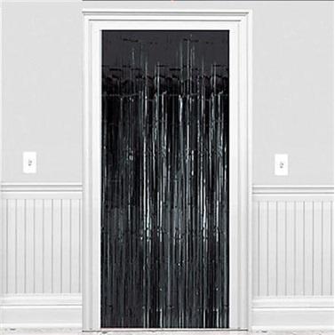 Siyah Parlak Püsküllü Kapı Perdesi