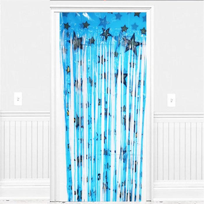 Mavi Yıldızlı Kapı Perdesi