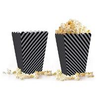 Siyah Gümüş Çizgili Popcorn Kutusu