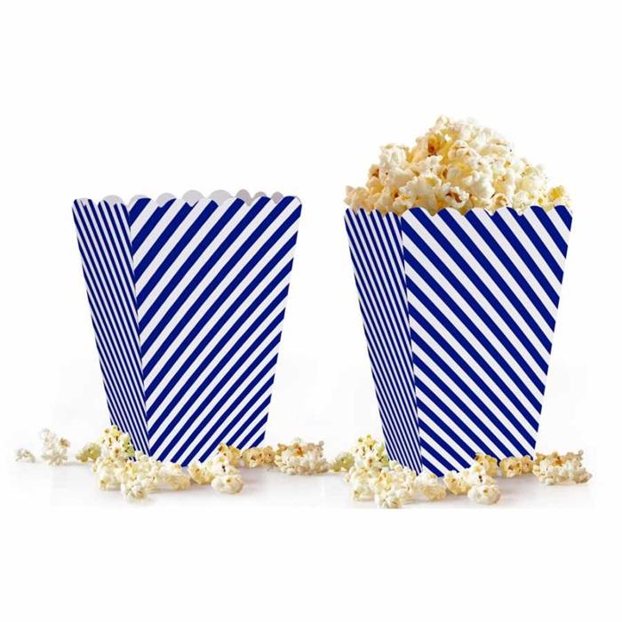 Lacivert Beyaz Çizgili Popcorn Kutusu