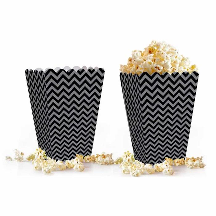 Siyah Gümüş Zigzag Popcorn Kutusu
