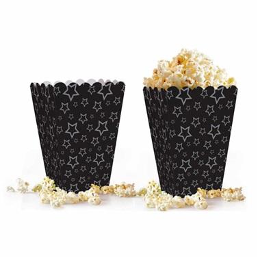 Siyah Gümüş Yıldızlı Popcorn Kutusu
