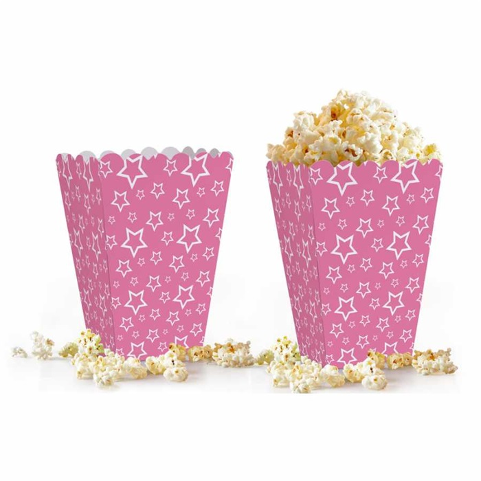 Fuşya Yıldızlı Popcorn Kutusu