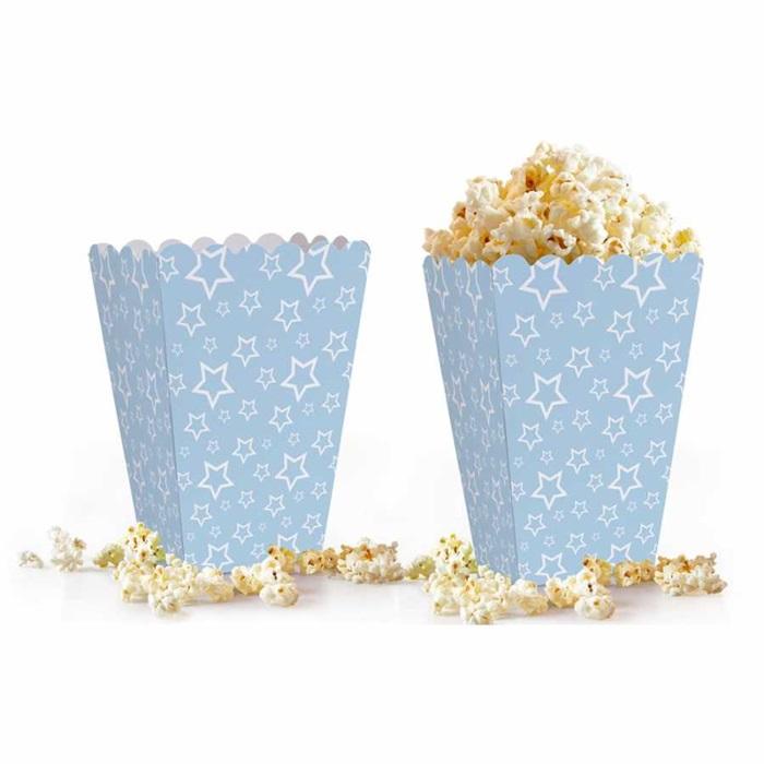 Açık Mavi Yıldızlı Popcorn Kutusu