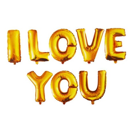 I Love You Folyo Balon Gold