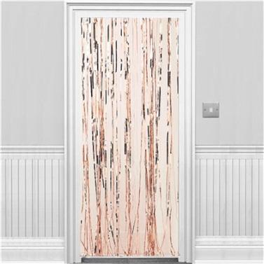 Rose Parlak Püsküllü Kapı Perdesi